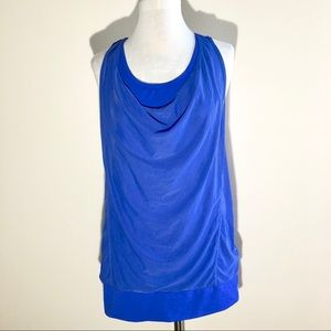 MPG Double Layer Crossback Cowl Neck Workout Tank